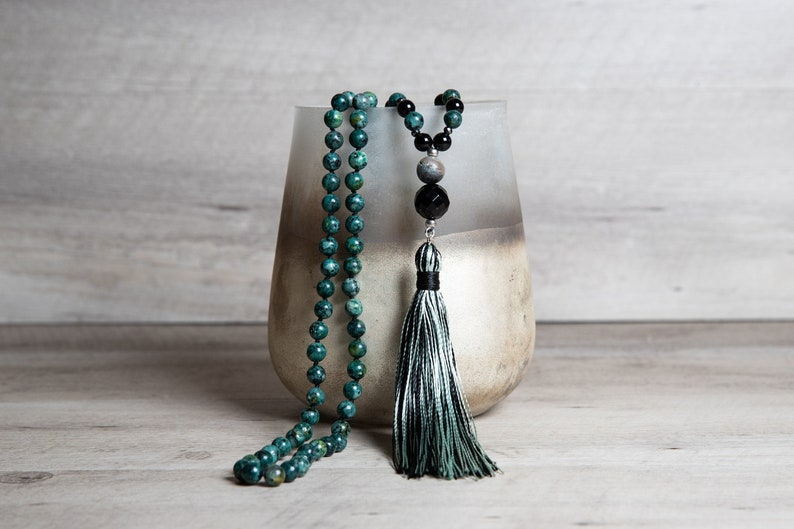 African Turquoise Mala Necklace with Matte Aventurine Agate image 0