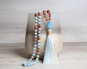 Imperial Jasper n' Goldstone Mala with Blue Agate Guru Bead, Handmade Rayon Tassel, Sparkly Gemstone Long Necklace, 40th Birthday Gift