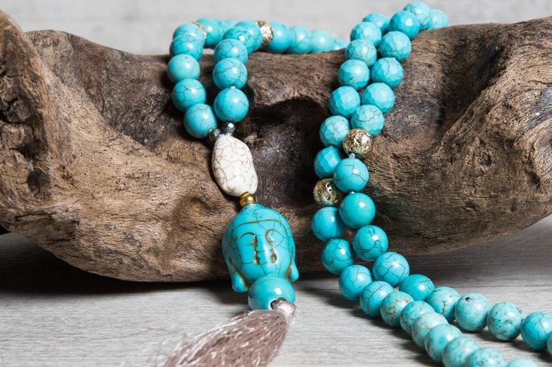 Long Bohemian Turquoise Necklace Buddha Pendant Beige image 0
