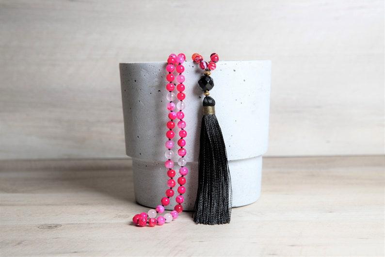 Long Red Agate and Rose Quartz Mala with Black Agate Guru image 0