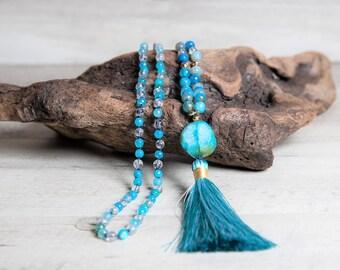 Blue Sky Agate n' Crystal Quartz Mala Necklace, Agate Geode Guru, Handmade Rayon Tassel, Long Boho Necklace,3 Year Anniversary Gift for Wife