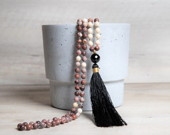 Red Jasper Mala with Agate Guru Bead and Black Rayon Tassel, Beige Fossil and Black Agate, Healing Long Necklace, Retirement Gifts for Women