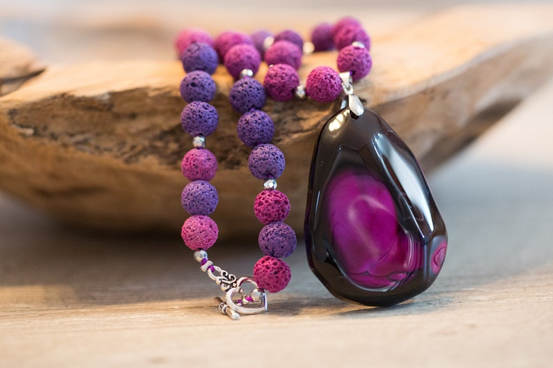 Purple Lava Stone Necklace with Big Agate Pendant Fuchsia image 0