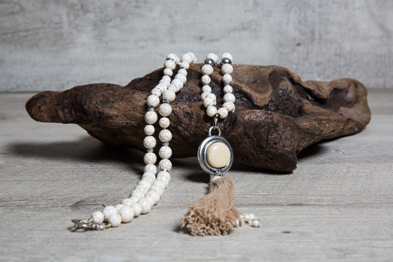 Beige Howlite Long Beaded Necklace with Silver Hematite Ivory image 0