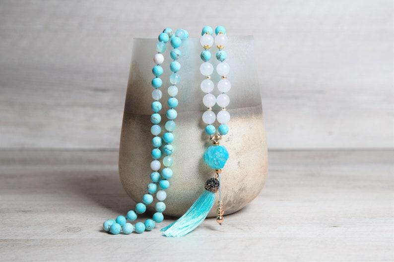 Genuine Turquoise n' White Jade Mala Raw Agate Guru image 0
