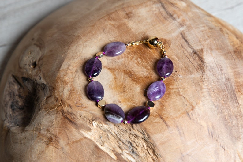 Natural Amethyst Beaded Bracelet with Gold Hematite and image 0