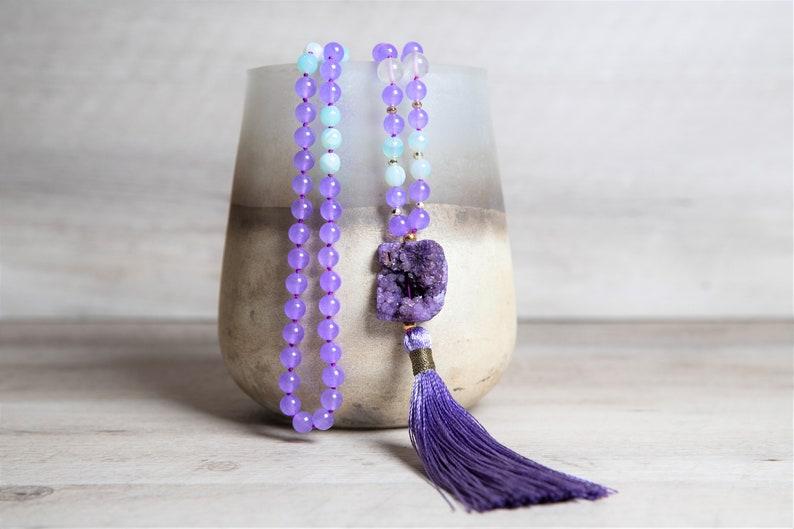Agate and Jade 108 Mala Necklace Druzy Agate Guru Purple image 0