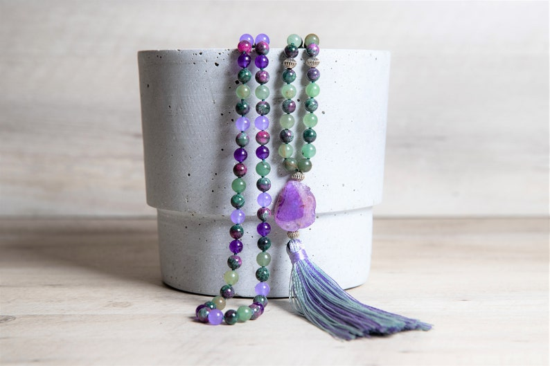 Green Aventurine n' Purple Jade Mala Necklace Mauve Geode image 0