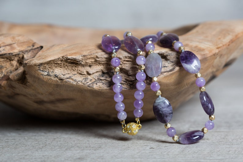Unique Amethyst Necklace with Magnetic Clasp 6th Anniversary image 0