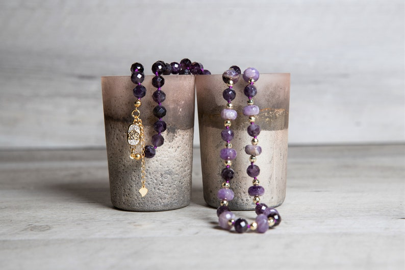 Long Elestial Amethyst Necklace with Gold Hematite and Gold image 0