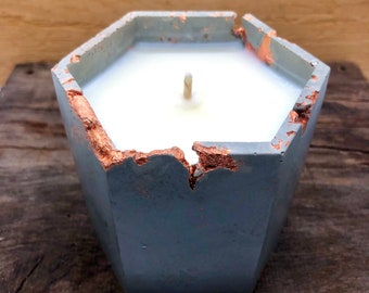 Soy Wax Candle • Concrete Container • Hand-poured • Reusable Planter • Geometric Vessel • Cement • Gift • Essential Oil• Free Shipping