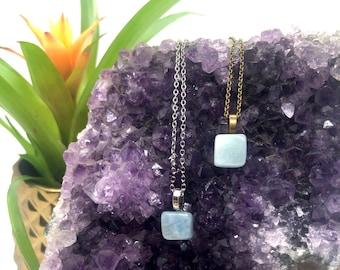 Aquamarine Simple Gemstone Necklace • Crystal Necklace • Gem Boho Jewelry • Minimal • Calming • Gifting • Free Shipping