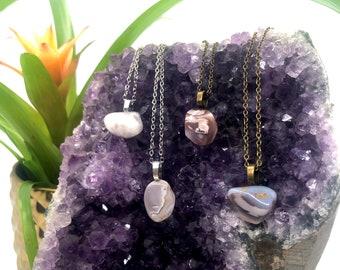 Gray Agate Simple Gemstone Necklace • Crystal Necklace • Gem Boho Jewelry • Minimal • Botswana • Gifting • Free Shipping