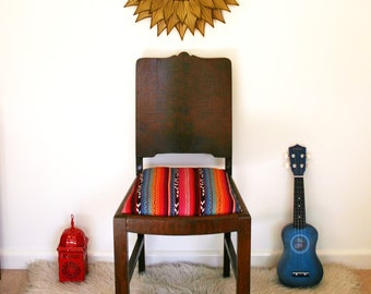 S O L D - Vintage Side Chair Upholstered with Mexican Fabric