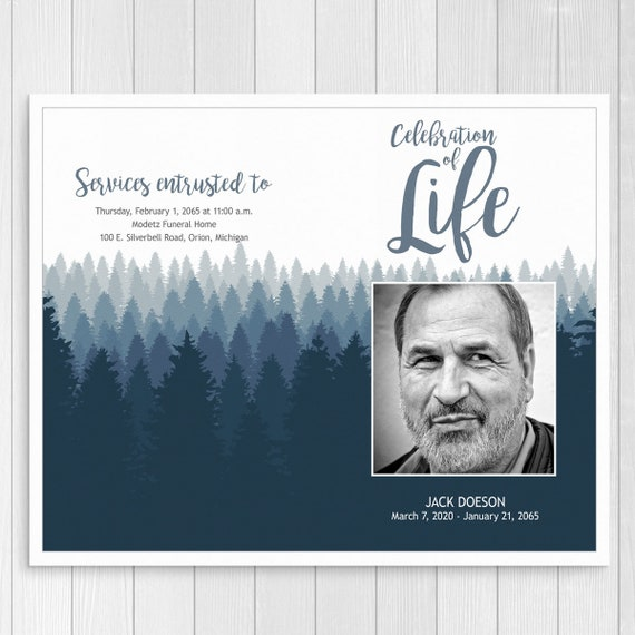 Funeral Program Template For Man Outdoor Memorial Program with Order of  Service Folded Celebration of Life Template Printable and Editable