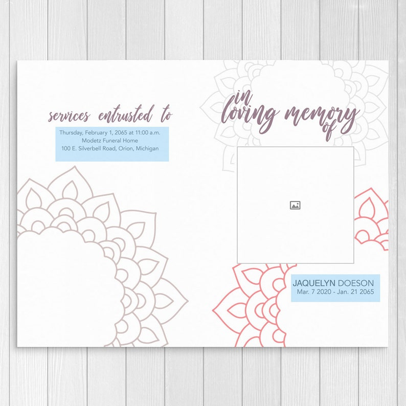 Funeral Program Template Modern Memorial Program with Order of Service  Folded Celebration of Life Template Printable and Editable