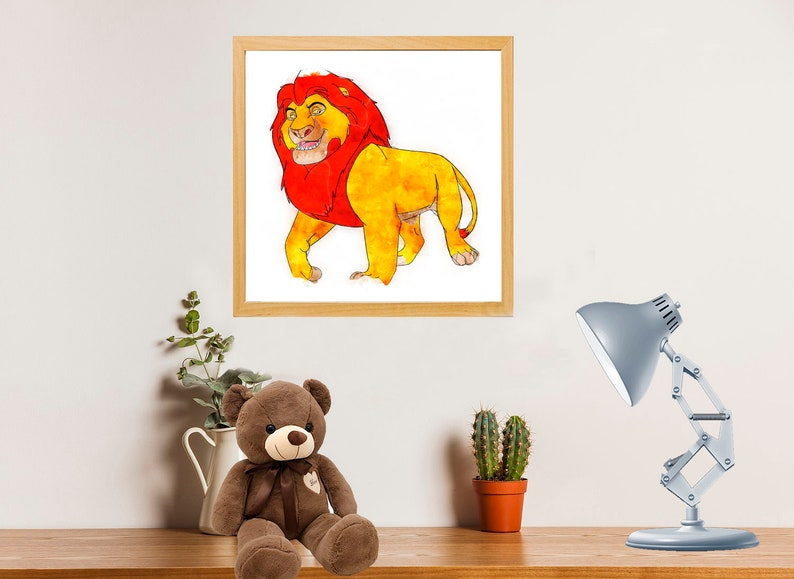 Walt Disney Pictures The King Lion Mufasa King of the Jungle Africa Nature Animals poster Drawing art digital Watercolor Plate birthday