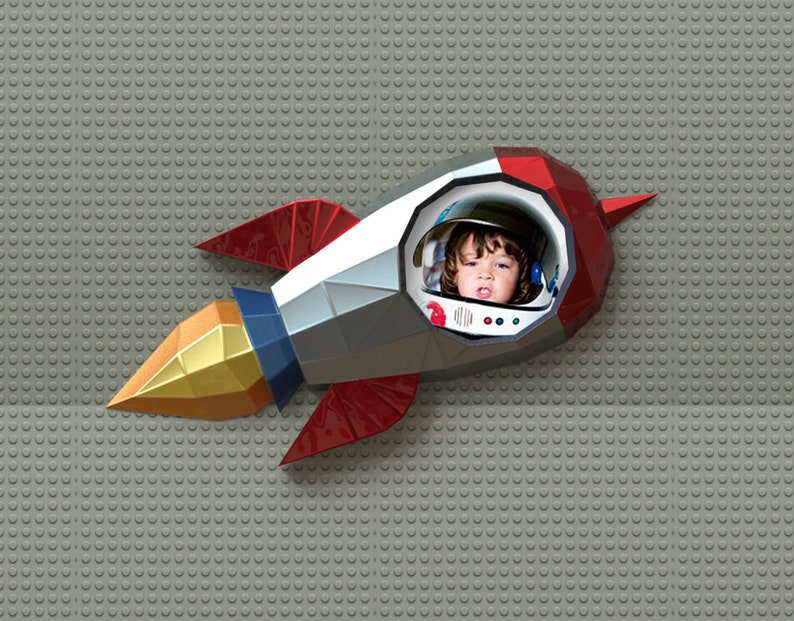 Photo Frame Rocket Papercraft Rocket Frame Space Ship