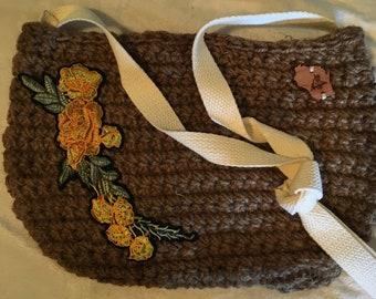 Haak Boho Jute zak/tas met katoen cross lichaam riem floral voering en gele bloem borduurwerk
