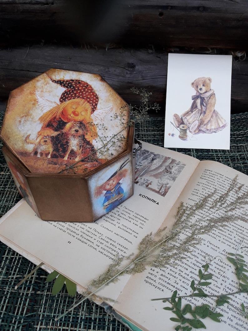 Casket for trifles Casket the nursery Angel Jewelry box Casket decoupage Mother/'s treasury Wooden trinket box