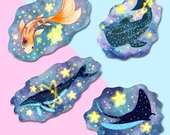 "Celestial Sea Creature Stickers 3"" Vinyl"