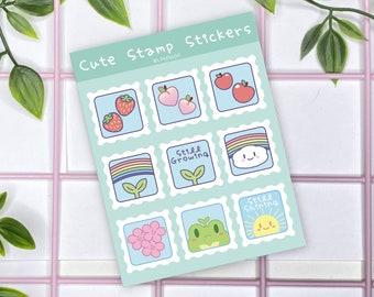 Cute Stamps A6 Vinyl Sticker Sheet | Kawaii Stamps | Laptop Sticker | Water Bottle Sticker
