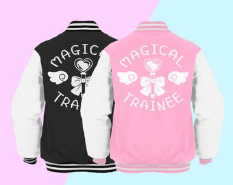 Magical Trainee Letterman Varsity Jacket. Pastel Pink, magical girl, magical boy, magical jacket. Fairy Kei Mahou Kei.