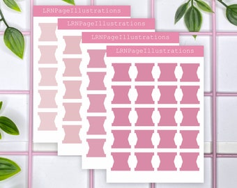 Tiny Functional Tab Planner Stickers Pink Shades | Transparent Planner Stickers | Calendar Stickers | Bullet Journal Stickers