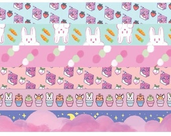 Kawaii Washi Tape; japanese inspired, animal, food, pattern washi tape. Bullet journaling, planners, school and office supplies