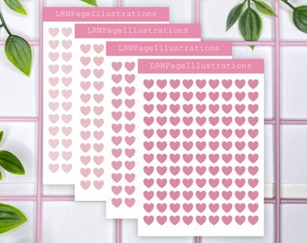 Tiny Functional Hearts Planner Stickers Pink Shades | Transparent Planner Stickers | Calendar Stickers | Bullet Journal Stickers