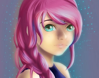Pink Haired Girl Anime Style Digital Painting Prints