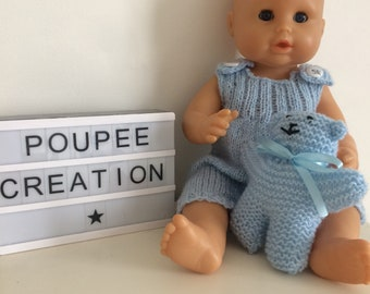 Blue overalls for 36 cm and its plush doll