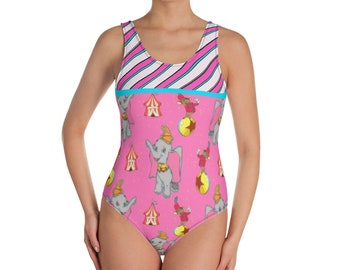 4364750d7a849 Circus Elephant Candy Stripe One-Piece Swimsuit