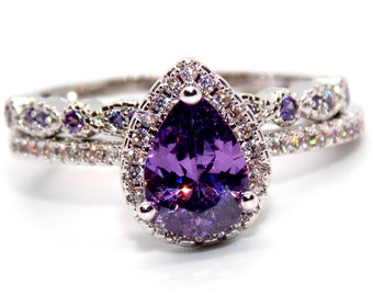228e28306c Silver And Platinum Overlayer Amethyst And CZ 1.61ct Ring Size 7 (N).  SilverSpectrumJewel. in United Kingdom