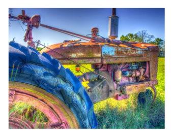 Old Tractor_ Tractors, Farm, Rural, Vintage, Machines, Fine Art