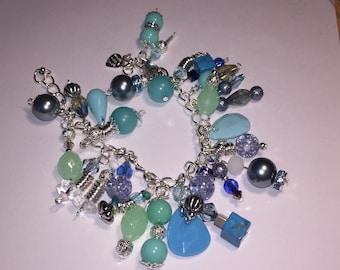 Blues and greens Multi  gem charm style bracelet