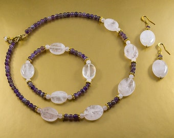 Provence - Charming set made from rose quartz and amethyst