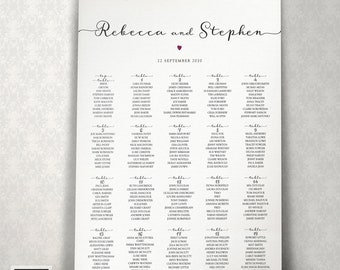 DIGITAL WEDDING PLAN Personalised Rejoice Style Wedding Kays Weddings Any colour available Baby Shower Table Seating Plan Chart 020