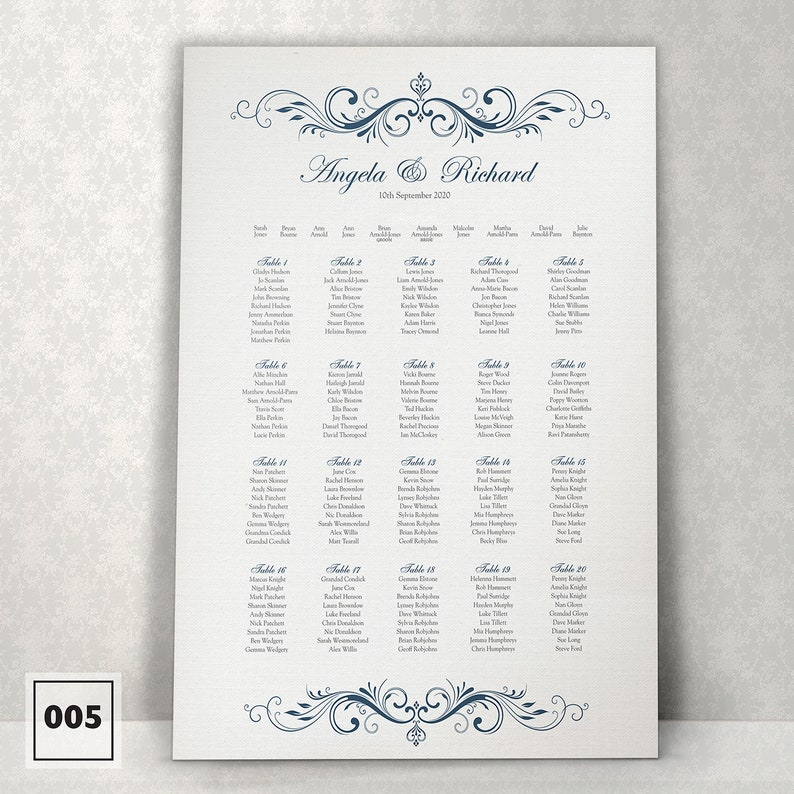 Christening Table Seating Plan Planner Chart 005 Kays Weddings Baby Shower Personalised Dreams style Wedding Any colour available