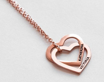 a9c1dd82d7 Twin Hearts Name Necklace • Interlocking Hearts Necklace • Connected Hearts  Necklace • Personalized Two Engraved Hearts with Names Necklace