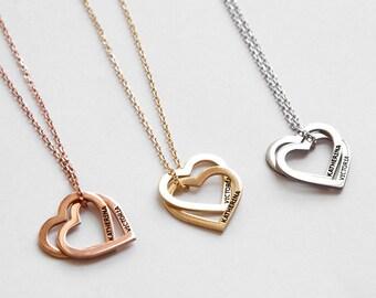 5e62f9a1c1 Custom Heart Necklace, Personalized Double Heart Necklace, Double Heart  Name Necklace, Personalized Heart Necklace, Engraved Heart Necklace