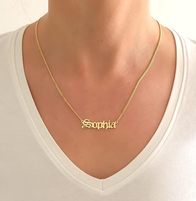 090a6a38fe9a9 Gothic Name Necklace, Name Necklace, Personalized Name Necklace, Custom  Name Necklace, Name Jewelry, Personalized Name Jewelry, Name Charm