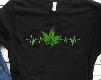 e3545c67 Funny Cannabis Heartbeat Shirt Tee Cannabis Weed T-shirt Cannabis Weed  Smoker Addicted To Cannabis Men, Women