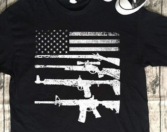 dc50308138 American Flag Gun Shirt Tank Top Tshirt 4th of July American T-shirt USA  Pride Flag Funny Gift On Veteran Us Day US Independence Day