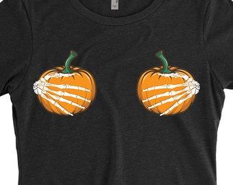 482e7ace6 Halloween Funny Shirt Pumpkin Boobs Women's T-shirt Womens Halloween Shirt  Halloween Costume T-shirt