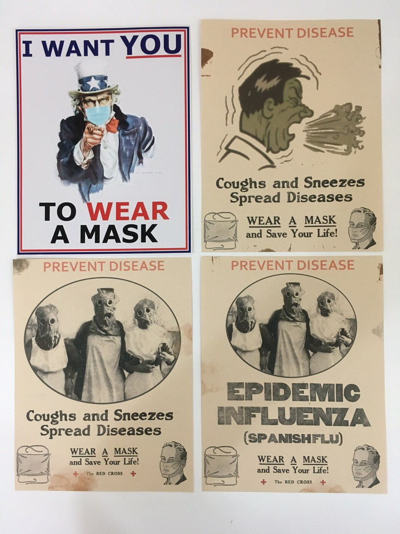 Vintage 1918 Flu Pandemic Signs Print Small Poster Replicas image 0