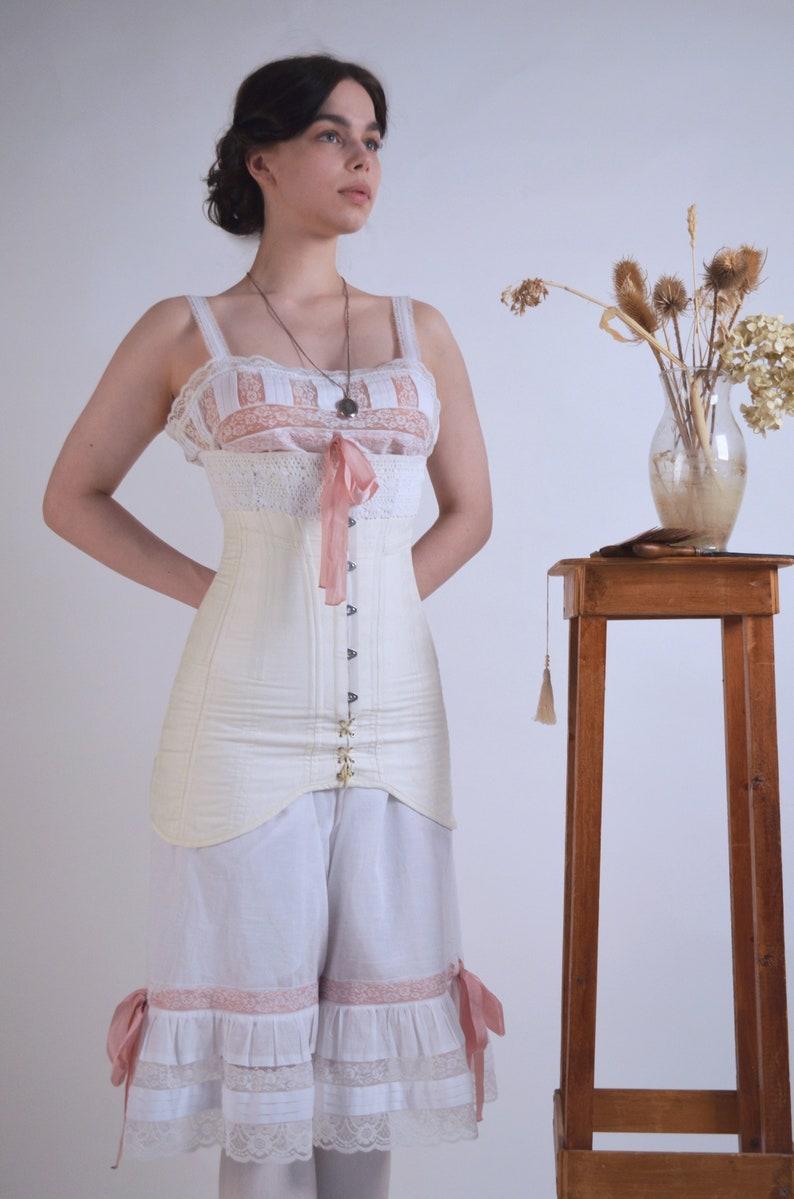 Edwardian Lingerie 1900-1910s Edwardian 1910s Corset Underbust Corset 1910s Edwardian Corset in Quality Cotton Sateen Fashion Fabric $290.00 AT vintagedancer.com