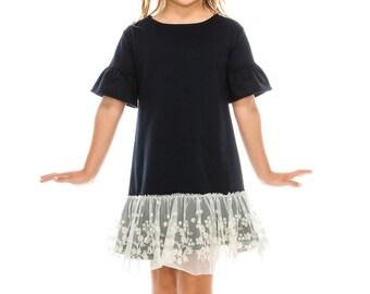lace ruffle bell sleeve dress