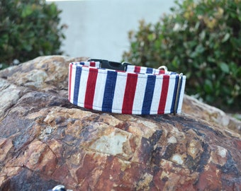 The Red White and Blue Dog Collar (Martingale or Buckle)