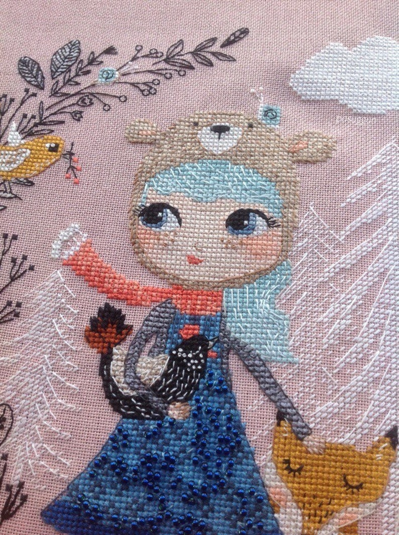 42 colors DMC 24x28 cm Crossstitch pattern Natsumi-summer beauty,size 149x177